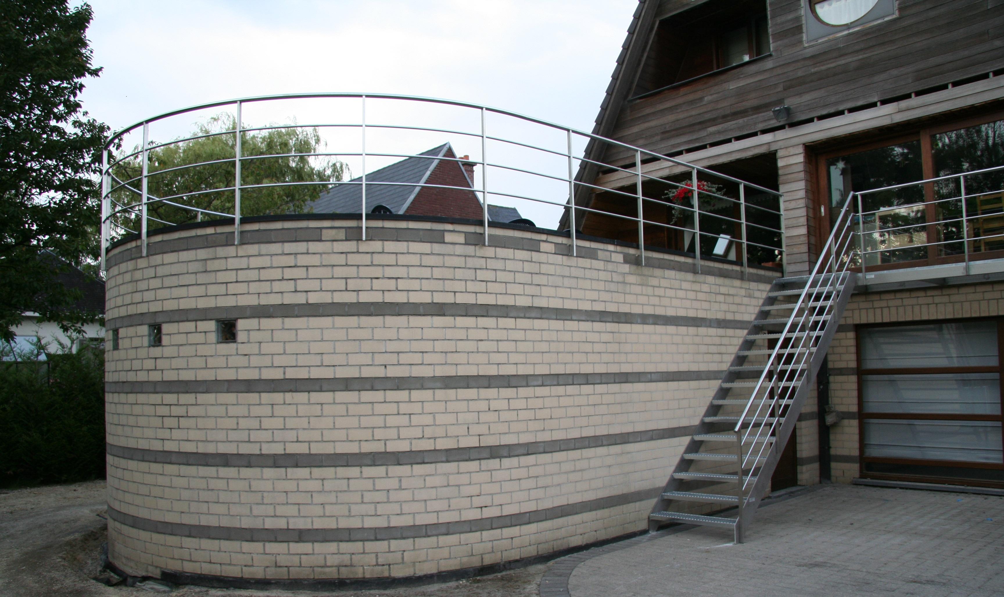 inox buitentrap met inox balustrades